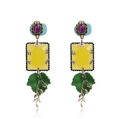 Handmade Colorful Three-Dimensional Flower Temperament Leaf Earrings Female