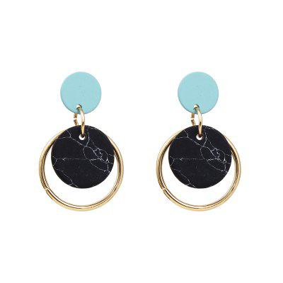 Marble Earrings Textured Round Ring Female Small Stud Earrings