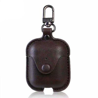 PU Leather Protective Case with Metal Carabiner For AirPods Earphone