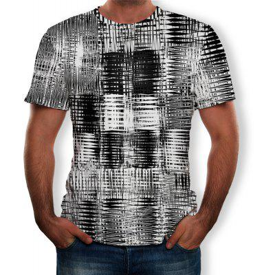 3D Sommer Mode Grid Shelf Print Herren Kurzarm T-Shirt