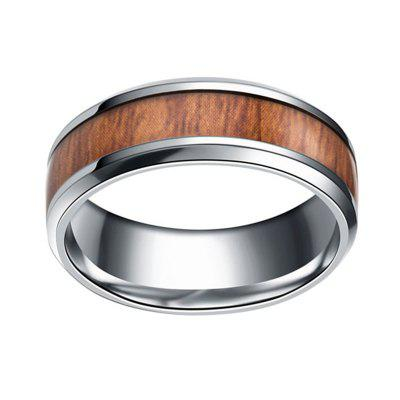Fashion Teak Inlaid Wood Titanium Steel Rings Wedding Rings