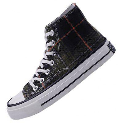 Men'S Casual Board Shoes Plaid Trend Harajuku Style Wild Student Casual Shoes