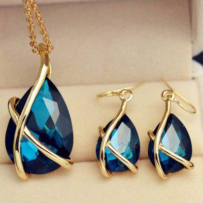 Lady Jewelry Suit Pendant Necklace Earrings Crystal Holiday Party Wedding t0365