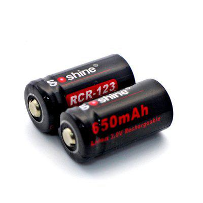Soshine Li-ion RCR123 Rechargeable Battery 650mAh 3.0V 2PCS