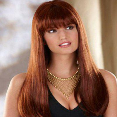 Fashionable Natural Neat Fringe Smooth Straight Long Wig