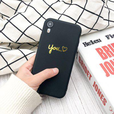 Gold Heart ME Candy Color Black Protective Soft Silicone Case for iPhone XR
