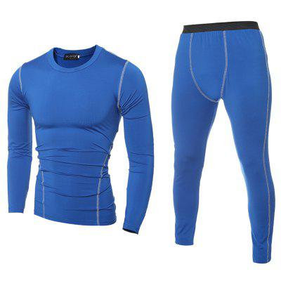 Men'S Solid Color Tights and Quick-Drying Sports T-Shirt Set