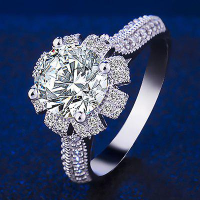 Fashion Queen'S Crown Luxury Platinum Plated Diamond Ring Gifts