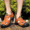Large-Size Full Grain Leather Handmade Casual Sandals - LIGHT BROWN