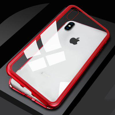 Magnetically Absorbing Metal Tempered Glass Flip Case for iPhone X