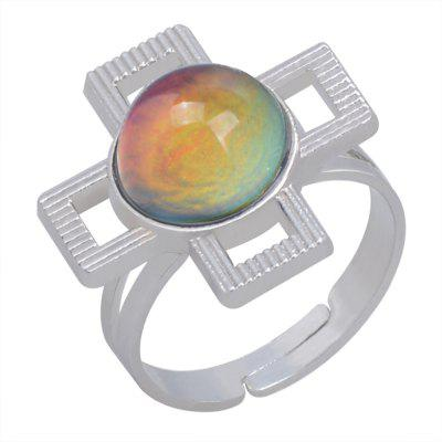 Hollow Cross Gem Temperature Change Color Mood Ring Adjustment Size 1PC