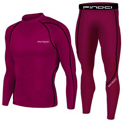 Findci Men Compression Long Sleeve Tops  Fitnesss Pants Suits