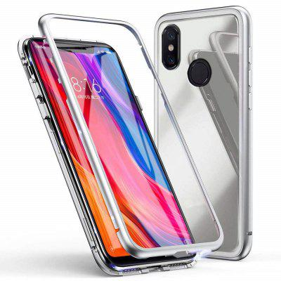 Magnetic Metal Tempered Glass Flip Case for Xiaomi Mi 8