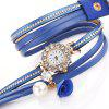 DUOYA D260 Ladies Point Drill Circle Watch Montre bracelet à la mode Fold Pearl - BLEU