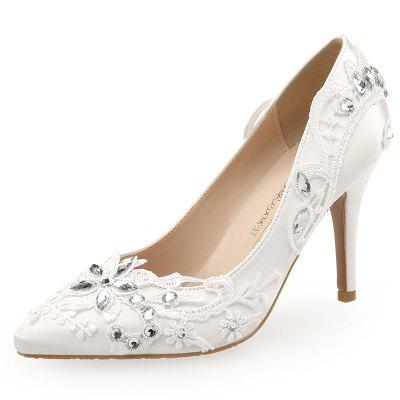 White Hand-Applique Bridal Shoes Pointed High-Heeled Wedding Shoes