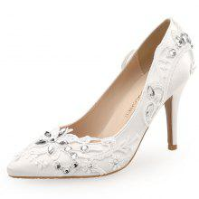 6e228fbd51 Women's Pumps. White Hand-Applique Bridal Shoes Pointed High-Heeled Wedding  Shoes