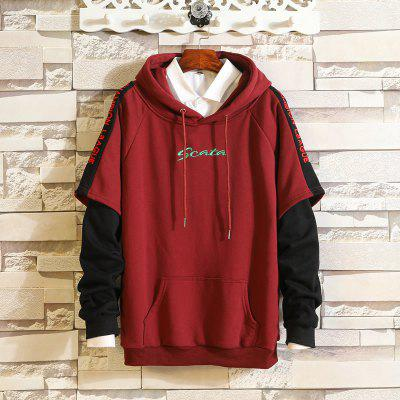 Men'S Fashion Stitching Faux Two-Piece Embroidery Letter Hooded Pullover Sweater