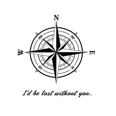 Compass Map Wall Sticker Living Room Bedroom Wall Decoration Sticker