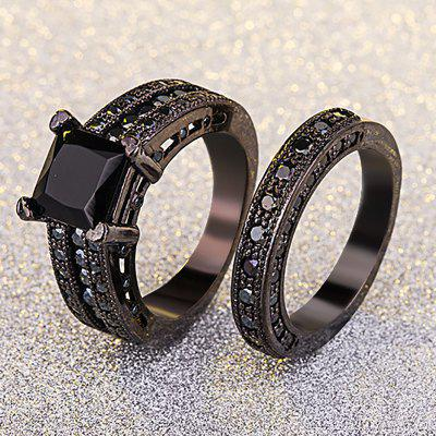 Luxury Sapphire 18K Black Gold Plated Finger Ring  Wedding Jewelry