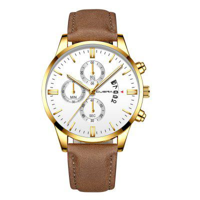 Geneva Men Leather Watch Chronograph Date Quartz Watch Casual Watch