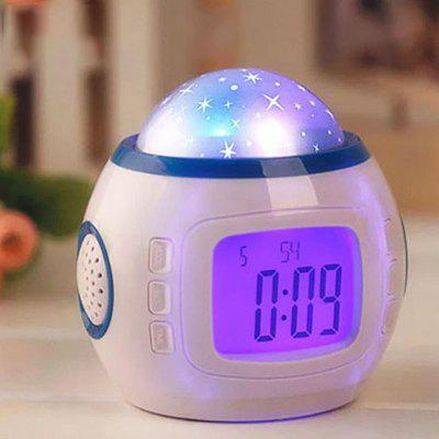 Music Star Sky Digital LED Projector Alarm Clock Calendar Colorful Light