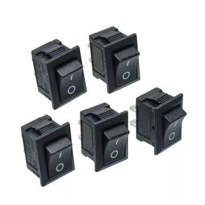 Bouton-poussoir Noir Mini Interrupteur On/Off Interrupteur à Bascule 5Pcs