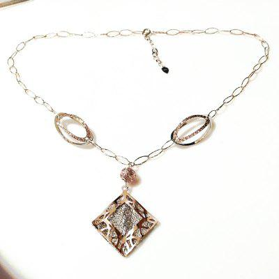 925 Sterling Silver Square Pendant Necklace Gold Plated Jewelry