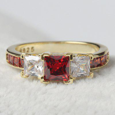 Luxury Square Zircon Ruby 18K Gold Filled Ring Women