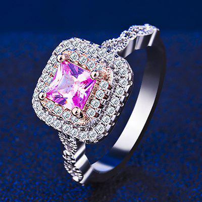 Luxury Diamond Silver 18K Rose Gold Plated Ladies Engagement Ring