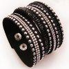 Creative Personality Bracelet with Diamond Wrist Button - BLACK