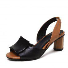 c82c338ade Summer New Style Medium Thick with Fish Mouth Contrast Color Simple Sandals