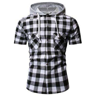 Summer New Men'S Fashion Plaid Hooded Casual Cotton Short-Sleeved Shirt