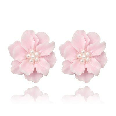Simple Camellia Flowers Pearl Stud Earrings