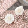 Simple Camellia Flowers Pearl Stud Earrings - WHITE