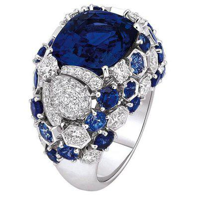 Gorgeous Silver Sapphire Gemstone Ring Bridal Engagement Ring
