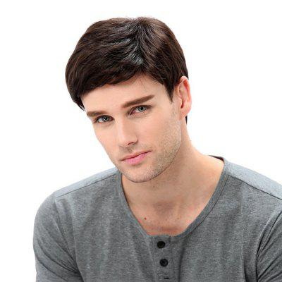 Fashionable Dashing Man Brown Fluffy Short Hair High Temperature Synthetic Wig