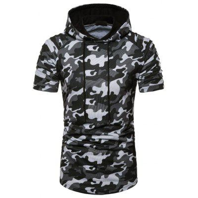 New Men T-Shirt Cap and Camouflage Short Sleeve T-Shirt