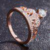 Fashion Rose Gold Pretty Crown Lady Crystal Ring Princess Ring Perfect Present - ROSE GOLD