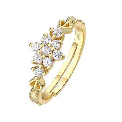 Classic Adjustable Dainty Cute Women Fashion 14K Gold Plated Snowflake Rings