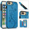 Luxury PU Leather Floral Wallet Smartphone Case for iPhone 8 Plus/7 Plus - SKY BLUE