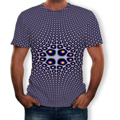 Summer 3D Personality Shaped Mesh Print Men's Short-Sleeved T-shirt