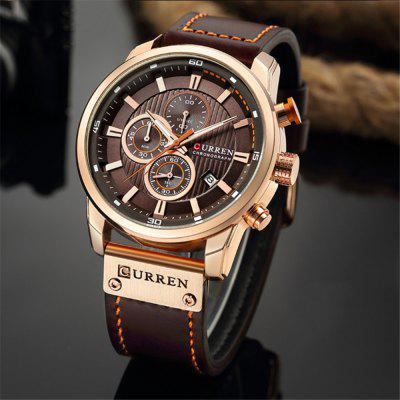 CURREN Heren quartz horloge Casual chronograaf leren band Heren polshorloge