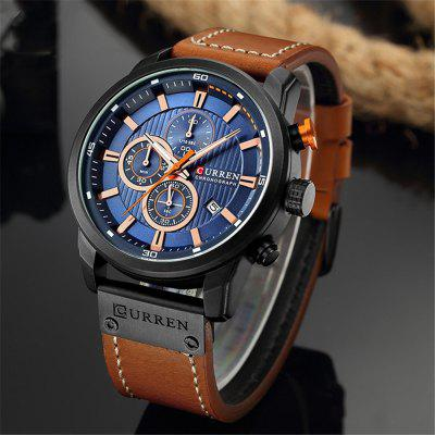 CURREN Male Quartz Watch Casual Chronograph Leather Strap Men Wrist Watch
