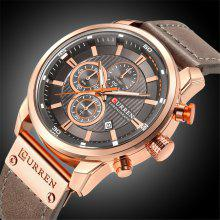 CURREN Heren quartz horloge, casual chronograaf, lederen band, heren polshorloge