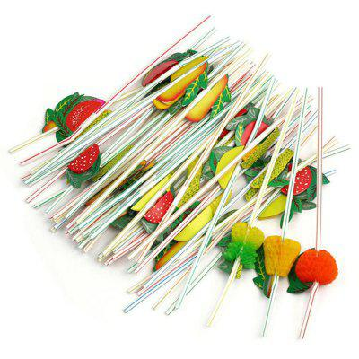 24cm 3D Party Straw Multicolor Fruit Plastic Straw Cocktail Drinking 100pcs
