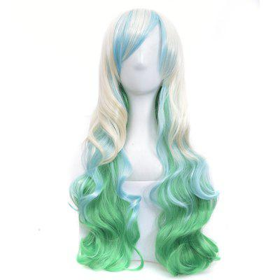 Headgear Long Curly Hair Halloween Mixed Color White and Blue Gradient Wig