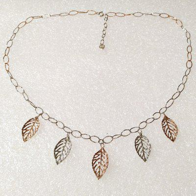 925 Sterling Silver Leave Charms Necklace Bijoux fantaisie