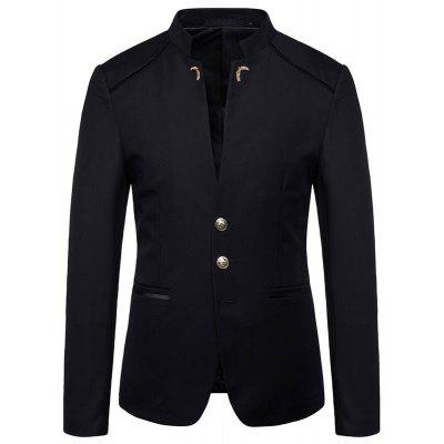 New Man Fashion Solid Patchwork Stand Collar Full Sleeve Casual Blazer 1319