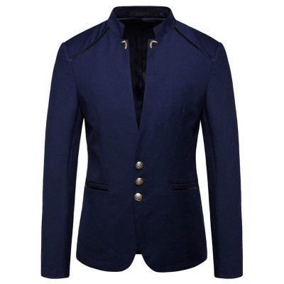 New Man Fashion Solid Patchwork Stehkragen Volle Hülse Lässige Blazer 1319