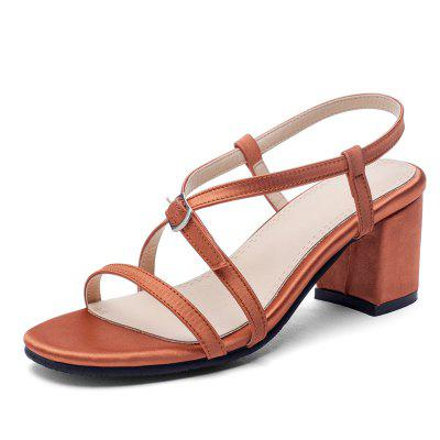 Women Chunky Sandals with Open Toe Straps